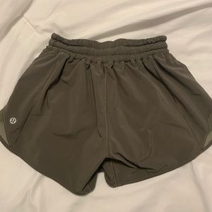 Olive Green Lululemon Hotty Hot Shorts 4in